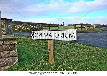 Crematorium Direction Sign At Beetham Hall Cumbria