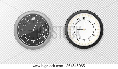 Modern White, Black Round Wall Clocks, Black Watch Face And Time Watch Mockup. White And Black Wall