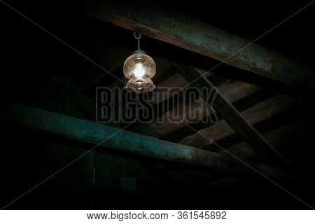 Mystical Horror Scary Garret Background To Halloween. Old Antique Dirty Wooden Ceiling With Beams An