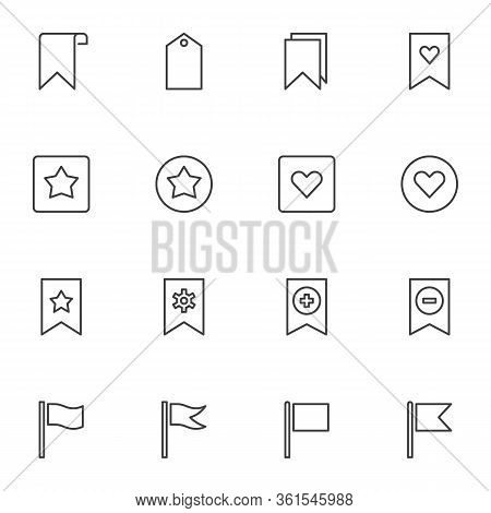 Bookmark And Tags Line Icons Set. Linear Style Symbols Collection, Outline Signs Pack. Vector Graphi