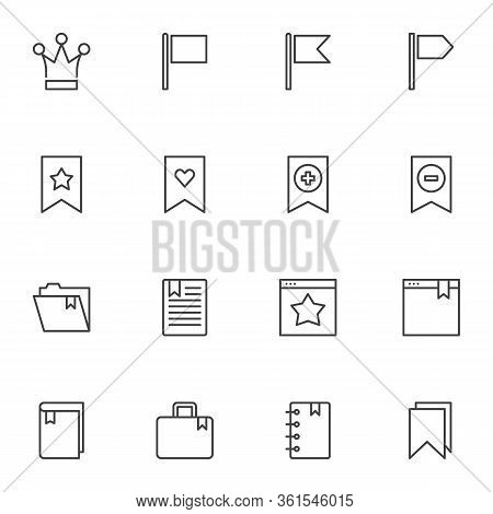 Bookmarks Line Icons Set. Linear Style Symbols Collection, Outline Signs Pack. Vector Graphics. Set