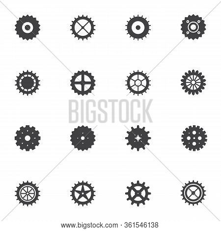 Circle Gears Vector Icons Set, Modern Solid Symbol Collection, Filled Style Pictogram Pack. Signs, L