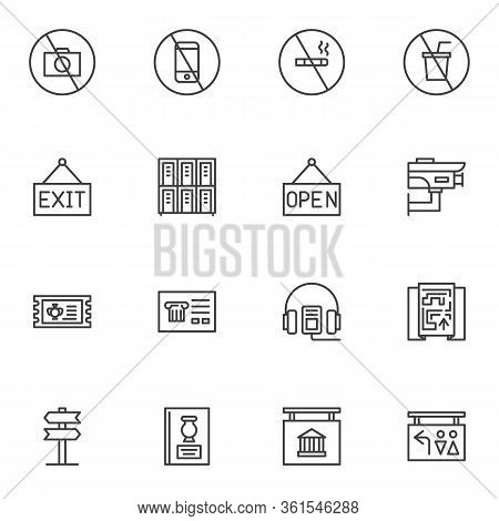 Museum Control System Line Icons Set. Linear Style Symbols Collection, Outline Signs Pack. Vector Gr