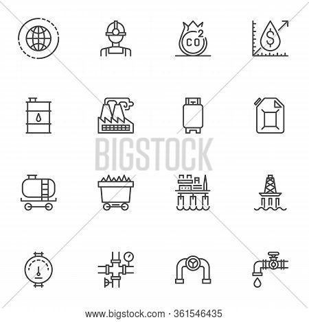 Oil And Gas Industry Line Icons Set. Linear Style Symbols Collection, Outline Signs Pack. Vector Gra