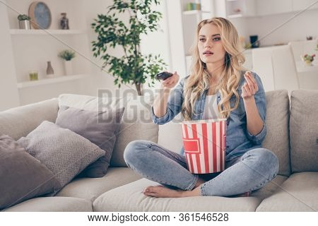 Photo Of Beautiful Charming Barefoot Lady Relaxing Sitting Comfy Couch Eat Popcorn Changing Tv Chann