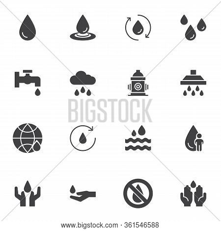 Water Drop Vector Icons Set, Modern Solid Symbol Collection, Filled Style Pictogram Pack. Signs, Log