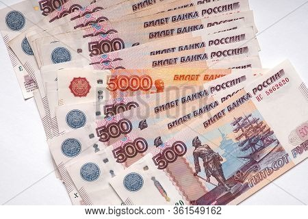 Russian Banknote 5000 Rubles Peeps Out Of The Many Banknotes 500 Rubles