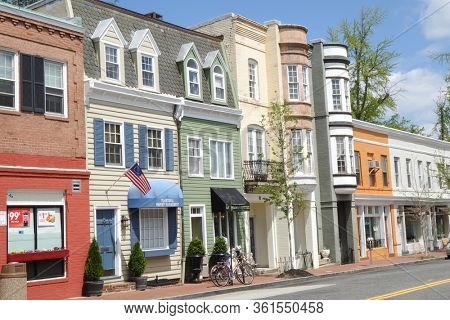 Washington DC / United States - April 23 2014:  Georgetown historical district - A street with preserved old mansions