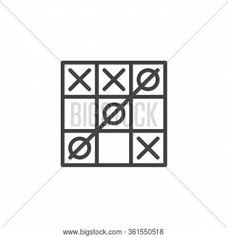 Tic Tac Toe Game Line Icon. Linear Style Sign For Mobile Concept And Web Design. Tic-tac-toe With A