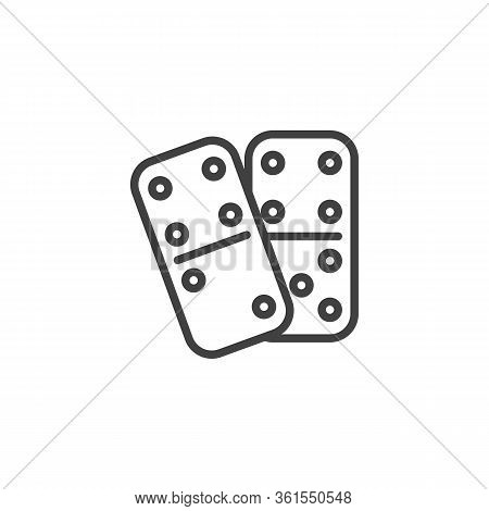 Domino Dice Line Icon. Linear Style Sign For Mobile Concept And Web Design. Dominoes Game Outline Ve