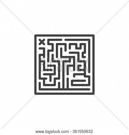Maze Labyrinth Line Icon. Linear Style Sign For Mobile Concept And Web Design. Labyrinth Board Game
