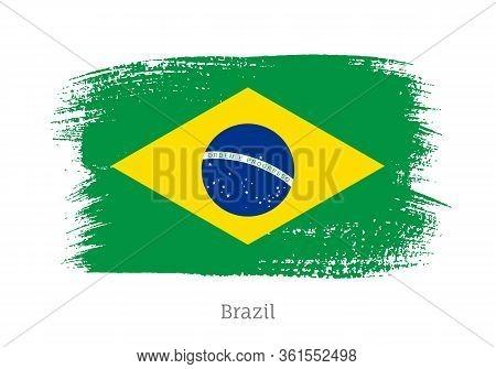 Brazil Republic Official Flag In Shape Of Paintbrush Stroke. Brazilian National Identity Symbol For
