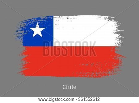 Chile Republic Official Flag In Shape Of Paintbrush Stroke. Chilean National Identity Symbol For Pat