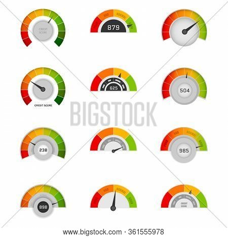 Credit Score Indicators With Color Levels From Poor To Good. Banking Report Borrowing Application Ri
