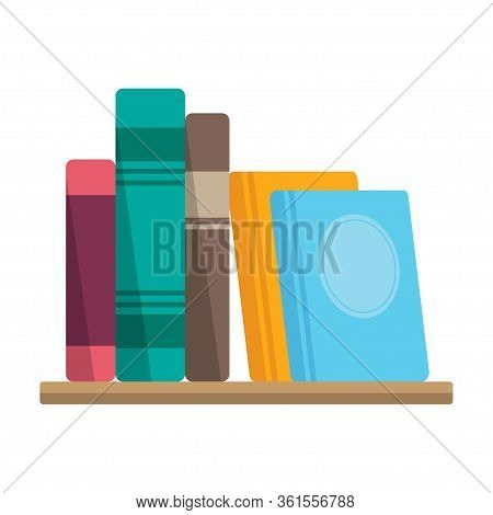 Books On The Shelf, Bookstore Or Library Symbol