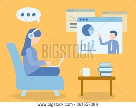 Woman Sitting At Sofa. Learning Online Course. Illustration About E-learning And Online Course.