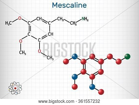 Mescaline Molecule. It Is Hallucinogenic, Psychedelic, Phenethylamine Alkaloid. Structural Chemical