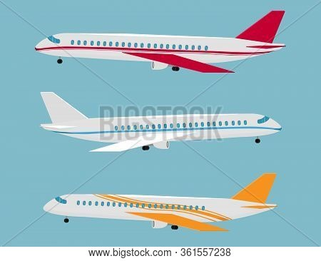Set Of Airplanes Of Different Colors And Designs. Airplane For Flights.  Aircraft Flight Travel, Avi