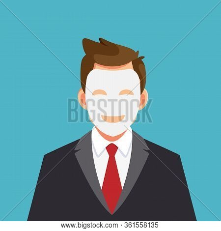 Business Man Hides His Identity Under A Smiling Mask. Two Faced Character. Vector Stock