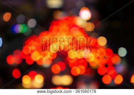 Blurred Footage. Traffic Jam On A Wide Street. Blurry Brake Lights. Dense City Traffic. Transport In