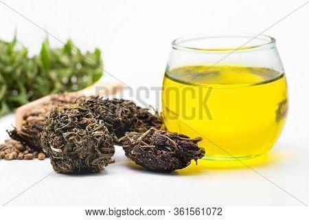 Cbd Hemp Oil, Hemp Oil Extract In Glass Bottles, Medical Cannabis Concept Herbal Extract.
