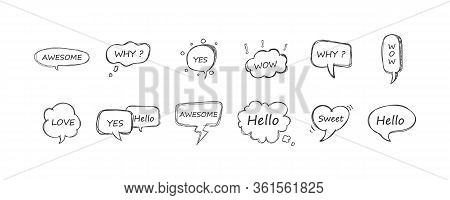 Speech Bubble Set. Yes, Wow, Love, Why, Awesome, Hello, Sweet. Retro Empty Comic Bubbles And Element