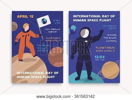 12 April International Day Of Human Space Flight Poster With Place For Text. Cartoon Astronaut At Sp