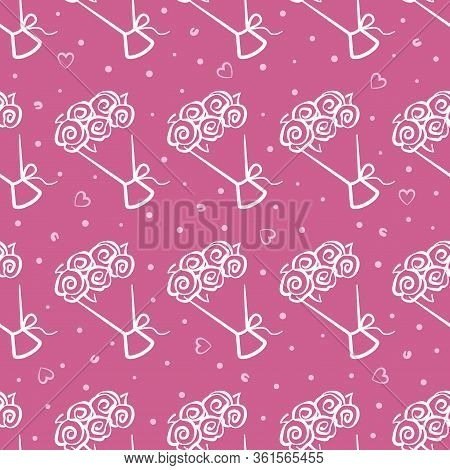 Bouquet Of Flowers Vector Seamless Pattern On Pink Background. Pink And White Holiday Background Han