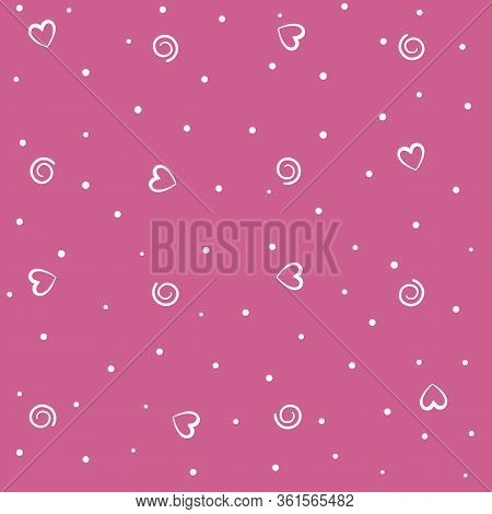 Vector Seamless Pattern Of Hearts, Spiral And Circles On A Pink Background. Holiday Wrapping,