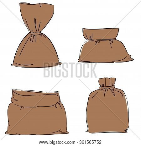 Canvas Bag Vector Set. Burlap Sack Isolated White Background. Illustration