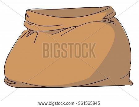 Canvas Bag Vector. Burlap Sack Isolated White Background. Illustration
