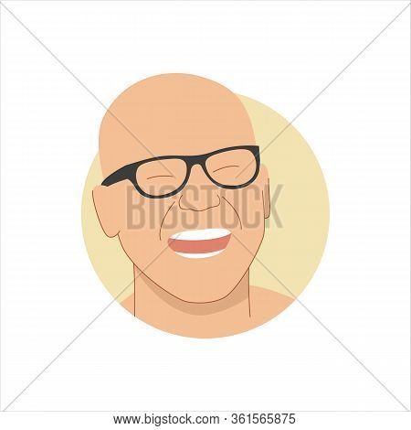 Vector Illustration Of A Portrait Of A Happy Laughing Attractive Bald Man In Glasses. It Represents