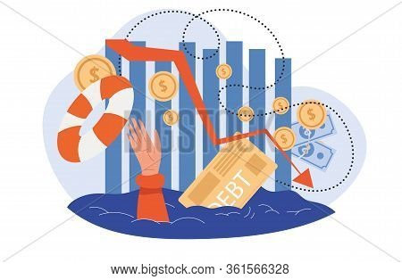 Throwing A Lifebuoy To Person Drowning In Debt In A Concept Of Financial Hardship Caused By The Glob