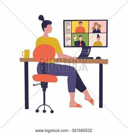 Female Worker Using Computer For Collective Virtual Meeting, Group Video Conference. Woman At Deskto