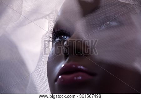 Mannequin, Female Mannequin Head Behind Glass, Close Up.