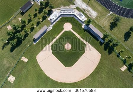 Overhead view of a high school baseball field in a suburban setting near Chicago, IL.