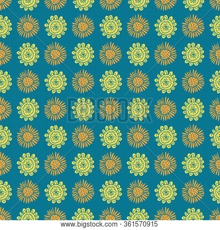 Uplifting Yellow And Orange Summer Floral Vector Repeat Pattern. Pattern For Fabric, Backgrounds, Wr