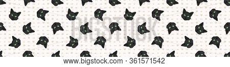 Cute Cartoon Bombay Kitten Face Seamless Border Pattern. Pedigree Kitty Breed Domestic Kitty Backgro