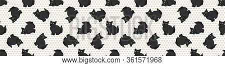 Cute Cartoon Bombay Kitten Seamless Border Pattern. Pedigree Kitty Breed Domestic Kitty Background.