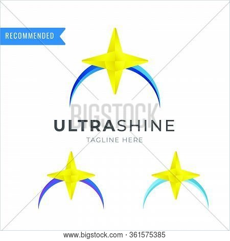 Ultra Shining Logo With Ellipse, Circle Arc And Shining Stars Vector Eps Template With Multiple Colo