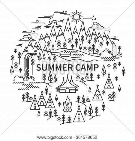 Tepee And Huts Camp Circle Banner. Snowy Mountains And River, Pine Tree And Two Waterfalls Landscape
