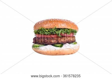 Fresh Burger With Chicken Cutlet, Cucumber, Tomato, Lettuce Mix, Feta Cheese Isolated On White Backg