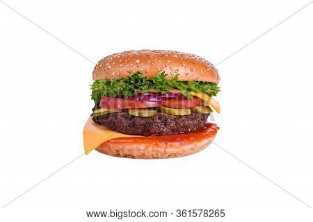 Fresh Burger With Pork And Beef Cutlet, Tomato, Pickled Cucumber, Pickled Onions, Cheddar Cheese, Sa