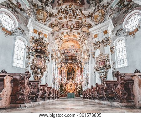 Feb 1 , 2020- Steingaden, Germany: Aisle View Ofr Facade Of Rococo Style Ornements Fresco Inside Pil
