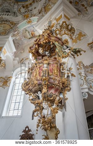 Feb 1, 2020 - Steingaden, Germany: Rococo Style Pulpit In Pilgrimage Church Of Wies, Wieskirche