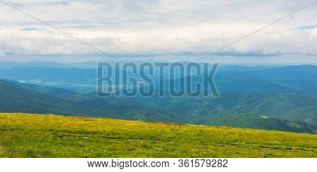 Alpine Scenery Of Carpathian Mountains. Stunning Views On A Windy Summer Day. Clouds On The Sky. Rid
