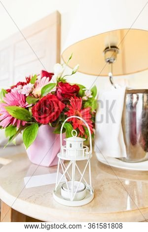 Lighthouse Candle Holder With Champagne Bottle And Flower Basket In The Upscale Hotel Room. Being Al