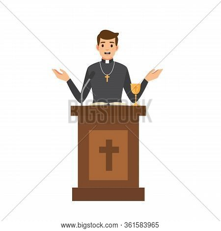 Priest Giving Speech From Tribune.catholic Preacher Character Isolated On White Background. Vector S