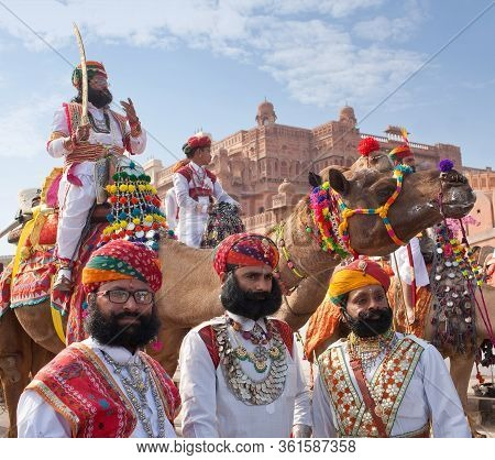 Bikaner, Rajasthan, India - January 11, 2020: Rajasthani Handsome Man In Traditional Clothes With Be