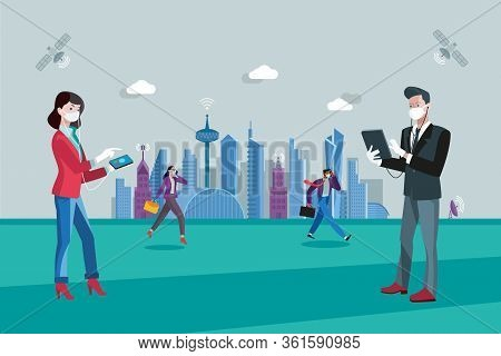 Businessmen With Facemasks And Gloves In A City Maintaining A Safe Social Distance Between Each Othe
